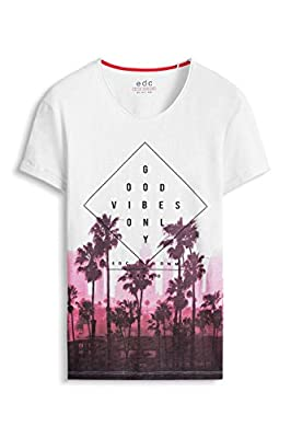 edc by Esprit Men's 046cc2k021 - Printed - Slim Fit Short Sleeve T-Shirt