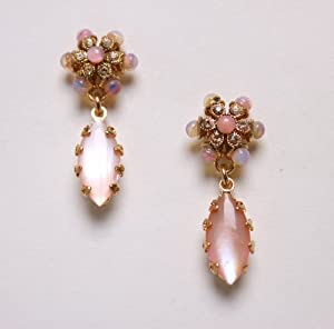 Amaro Jewelry Studio 24K Rose Gold Plated Impressive Earrings from 'Love and Tenderness' 2013 Collection Decorated with Flower Details, Marquise Cut Rose Quartz, Pink Aventurine, Pink Mussel, Coral Salmon and Swarovski Crystals