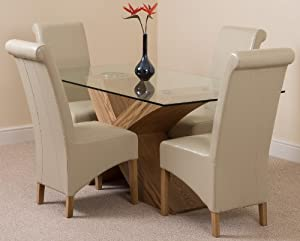 VALENCIA OAK SMALL 160cm x 90cm GLASS DINING TABLE WITH 4 OR 6 MONTANA LEATHER CHAIRS (AVAILABLE IN 4 COLOURS) (4, Ivory)
