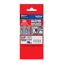 Brother Laminated Extra-Strength Black on Matte Silver 1 1/2 Inch Tape - Retail Packaging (TZeS961) - Retail Packaging