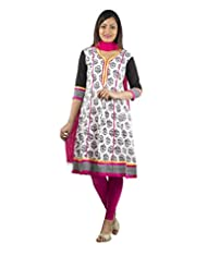 Rama Set Of Printed White-Black Color A Line Kurti With Pink Color Duppatta & Legging
