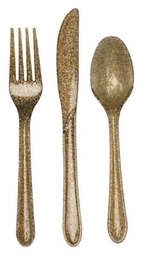 Club Pack of 288 Gold Glitz Glittered Heavy-Duty Plastic Forks, Knives & Spoons