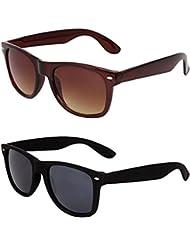 MagJons Black And Brown Wayfarer Sunglasses Set Of 2 (With Box)