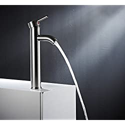 Greenspring Modern Contemporary Bathroom Vessel/Bowl Sink Lavatory Faucet Tall Stainless Steel, Brushed Nickel