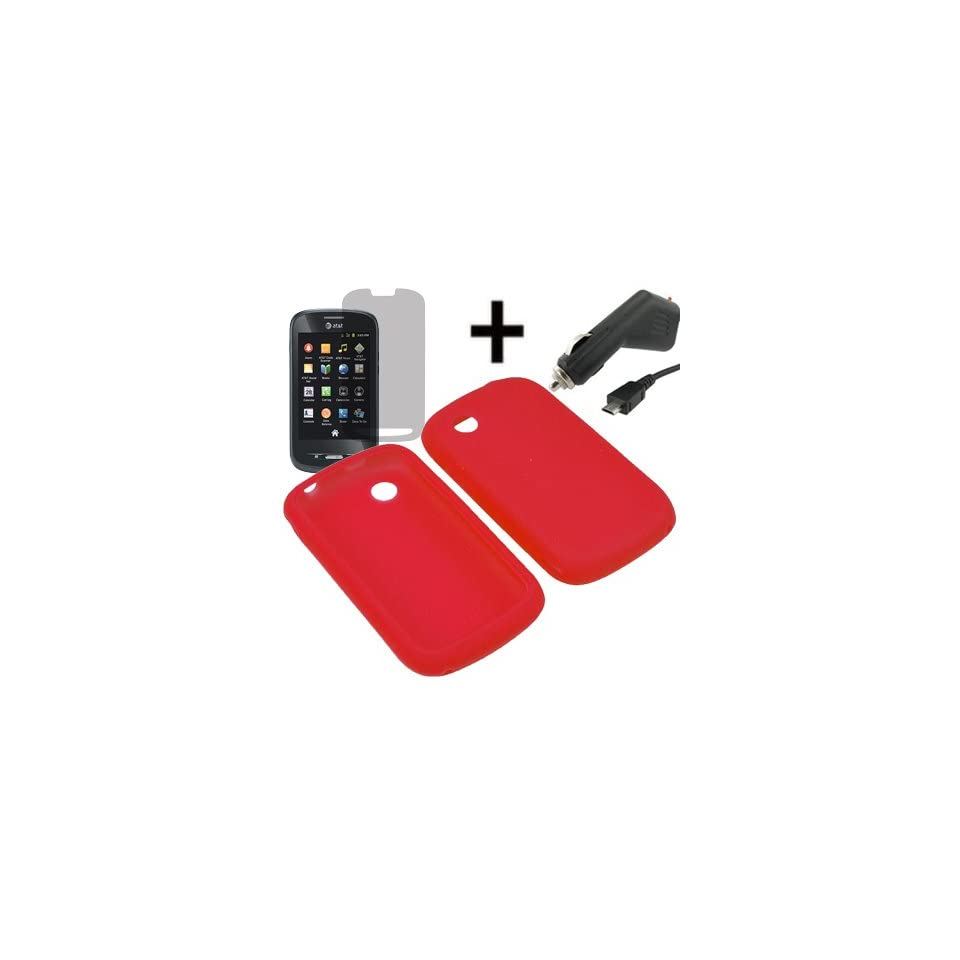 AM Soft Sleeve Gel Cover Skin Case for AT&T ZTE Avail Z990 + LCD + Car Charger Red