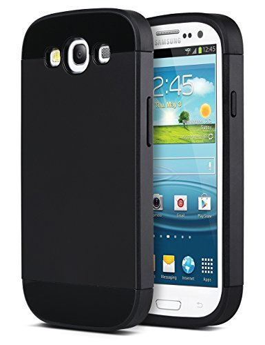 Galaxy S3 Case, S3 Case - ULAK 2in1 Hybrid Dual Layer Slim Fit Protective S3 Case Cover for Samsung Galaxy S3 I9300 With Rubber Bumper w/Card Storage(Black) (Samsung Galaxy S3 Case Jelly compare prices)