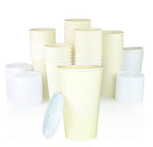Ny Coffee Cup 16-Ounce Tall White Paper Cup (Pack Of 100 Cups With White Lids)
