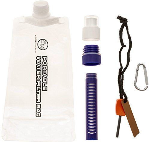 Portable Water Filter Bag - 0.1 Micron Filter Straw with Collapsible Bag - Personal Purifier Removes 99.9% Bacteria (Collapsible) (Water Filer Jug compare prices)
