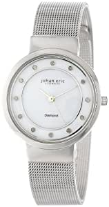 Johan Eric Women's JE6100-04-009 Arhus Stainless Steel Watch with Diamond Markers and Mesh Bracelet