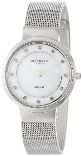 Johan Eric JE6100-04-009 - Reloj para mujeres, correa de acero inoxidable color plateado
