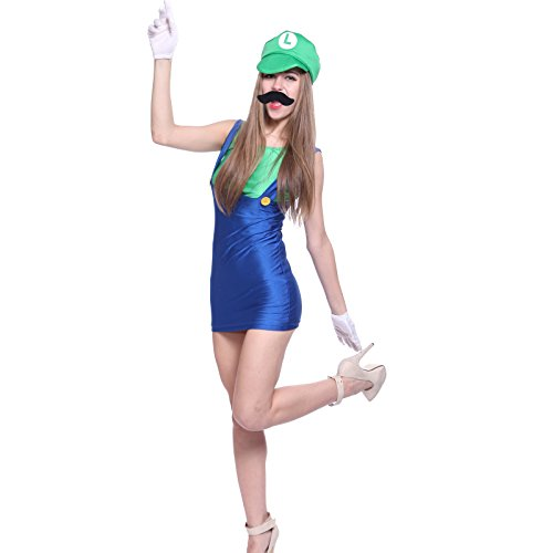 Sexy Womens Super Mario Luigi Plumber Brothers 80s Costume (Sexy Plumber Costume compare prices)