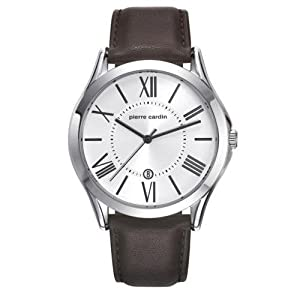 Pierre Cardin Men's Brown Leather Band Steel Case Quartz Silver-Tone Dial Analog Watch PC107221F09
