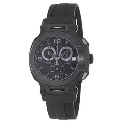 Tissot Men's T0484173705700 T-Race Black Chronograph Dial Black Rubber Strap Watch by Tissot