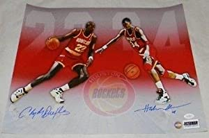 HAKEEM OLAJUWON CLYDE DREXLER AUTOGRAPHED SIGNED HOUSTON ROCKETS 16x20 PHOTO - JSA... by Sports Memorabilia
