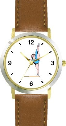 Balance Beam No.3 or Floor Exercise Women's Gymnastics Theme - WATCHBUDDY® DELUXE TWO-TONE THEME WATCH - Arabic Numbers - Brown Leather Strap-Size-Large ( Men's Size or Jumbo Women's Size )