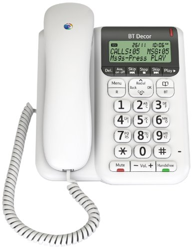 BT Décor 2500 Corded Telephone with Answer Machine - White
