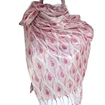 Sparkly Peacock Feather Soft Shawl Scarf Wrap By Silver Fever® Brand (Fuchsia & Pink)