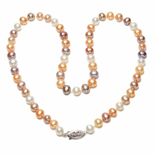 Sterling Silver Natural Pastel Multi-Color Freshwater Cultured Pearl A Grade 7.5-8mm Necklace, 20