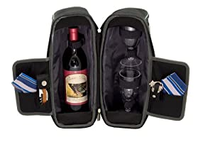 Picnic Time Estate Insulated Wine Tote with Service for 2, Black and Gray
