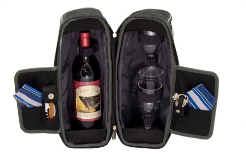 Picnic Time Estate Insulated Wine Tote With Service For 2, Black And Gray front-194943