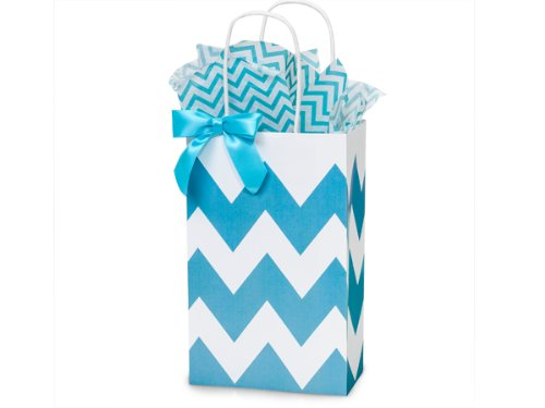 Turquoise Blue & White Chevron Small Shopper Gift Bags - Quantity Of 25 front-369656