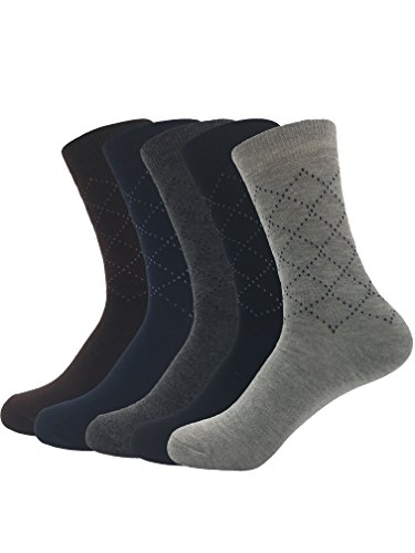 Zando da uomo Business Solid Color Dots rhombohedral Mid vitello calze a maglia piatta 5 Pairs Taglia Unica: 20 cm- 28 cm(Misura scarpa: 38-46)