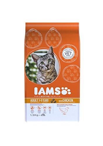 Iams Adult Trockenfutter mit viel Huhn (für erwachsene Katzen, enthält viel hochwertiges tierisches Protein), 1,5 kg Beutel