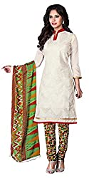 Lovely Look Off White Embroidered Dress Material