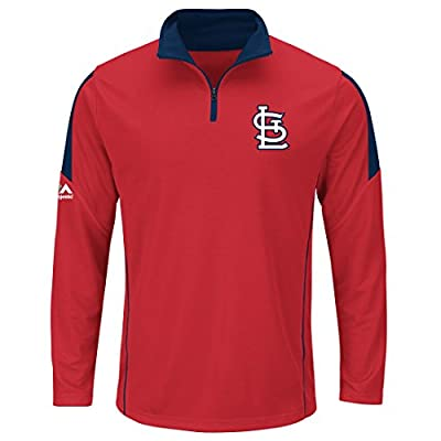 St. Louis Cardinals Majestic Quarter Zip Status Inquiry Pullover Synthetic Wind Shirt