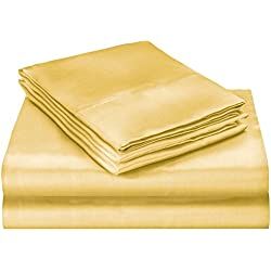 ELAINE KAREN Soft Silky Satin Queen Bed Sheet Set, Gold
