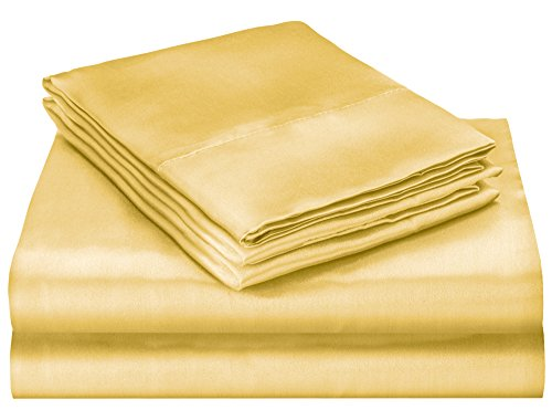 ELAINE KAREN Soft Silky Satin Queen Bed Sheet Set, Gold (Satin Gold Sheets compare prices)