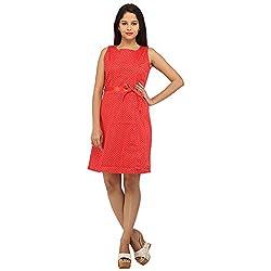 PRAKUM Women's Cotton Regular Fit Dress Red (Large)