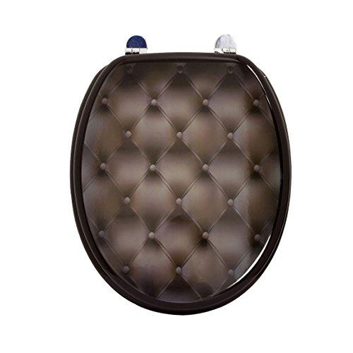 Carpemodo WC Sitz WC Deckel Klodeckel MDF robustem Holzkern Antibakteriell Scharniere aus Metall Größe 43x36 cm, Design Schwarz edles Muster