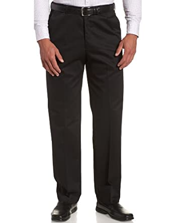 Haggar Men's Work To Weekend Hidden Expandable Waist No Iron Plain Front Pant, Black,30x30