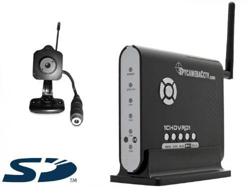 Mini Wireless Pinhole Spy Camera with Motion Detection SD DVR CCTV Recorder Receiver, 2.4 GHz, Covert Home Security Kit [UK Import]