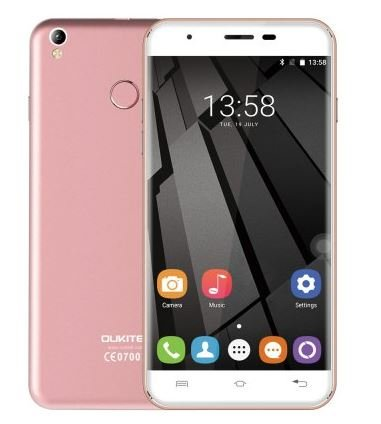 Oukitel U7 Plus - 5.5 pouces HD Android 6.0 4G Smartphone Quad Core 1.3GHz 2Go RAM 16GB ROM Fingerprint Scanner GPS Dual SIM 13MP - Or rose