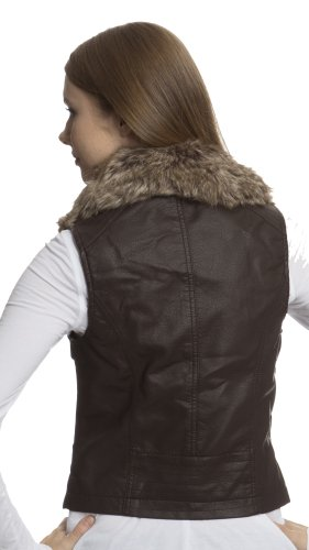 (7625) Dollhouse Faux Leather Zip and Snap Front Motocycle Vest with Faux Fur Collar in Coffee Size:..