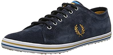 Fred Perry Men's Kingston Suede Fashion Sneaker,Navy/Dark Gold,6.5 UK/7.5 M US