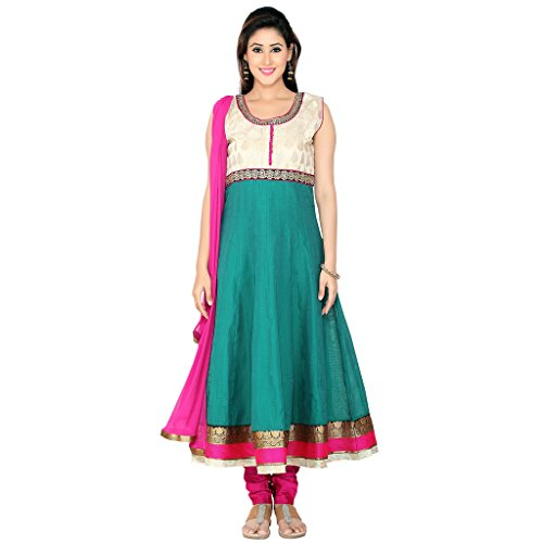 Indian Traditional Wedding jamewar Border Work Silk Churidar Anarkali Suit with Dupatta For Women