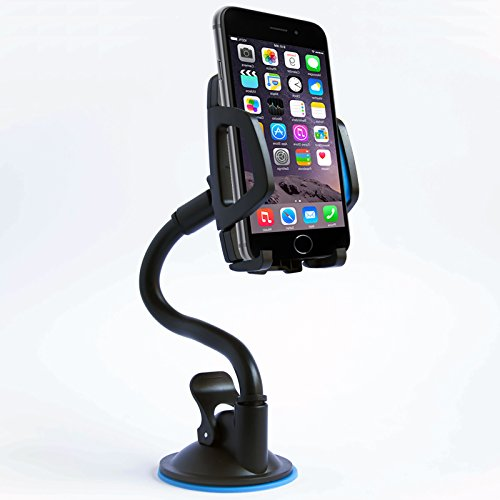 Universal Long Arm Car Mount Phone Holder With 360 Rotation, Adjustable & Flexible Neck And Secure Strong Adhesive Suction Cup For Windshield Stand. Blue Cellphone Cradle For Smartphone Mobile Device (Camaro Iphone 5s compare prices)