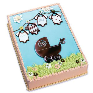 Baby Shower Cake Decorating Kit Includes Brown Baby Buggy and 4 onesy