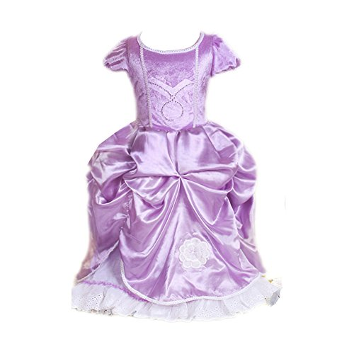 Oisk Girls Sofia The First Dress Kids Halloween Evening Party Costume 5T 6T