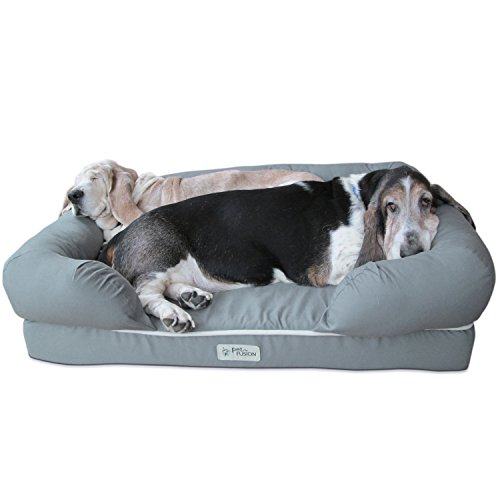 PetFusion Ultimate Dog Lounge & Bed. (Large Slate Gray, 36 x 28 x 9.5 inch)