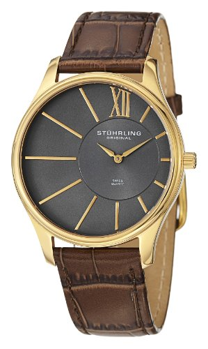 Stuhrling Original Men's 553.3335K54 Classic Cuvette SD 23k Yellow Gold-Plated Stainless Steel and Brown Leather Strap Watch