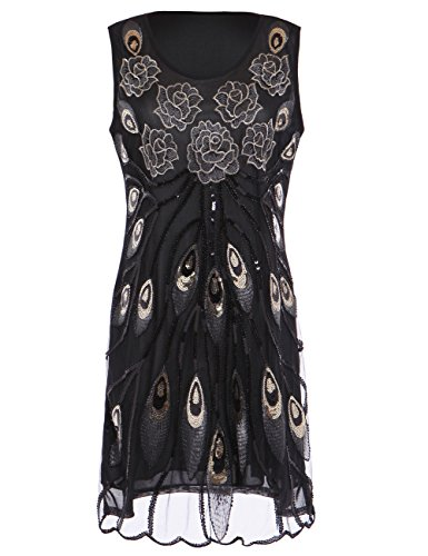 KAYAMIYA Women's 20S Sequined Peacock Feather Embroidery Flower Flapper Dress