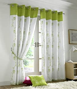 lime green curtains eyelet lined voile tahiti 56 39 39 x