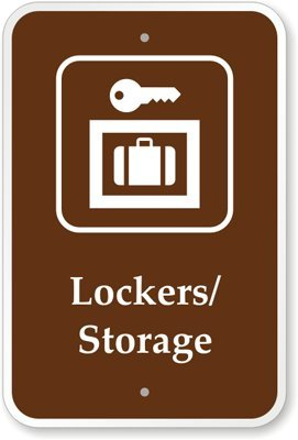 """Lockers/Storage (With Graphic) Sign, 18"""" X 12"""" front-590871"""