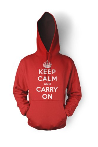 Keep Calm And Carry On Hoodie Sweatshirt ,Red ,M