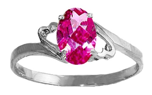 .925 Sterling Silver Promise Ring with Genuine Oval Pink Topaz