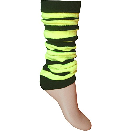 Ladies & Girls Neon Striped Comfort Fit Ankle Leg Warmers - Many Colours